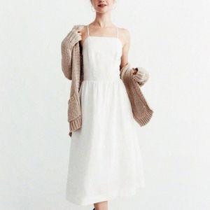 Abercrombie A&F Linen Square Neck Midi Dress